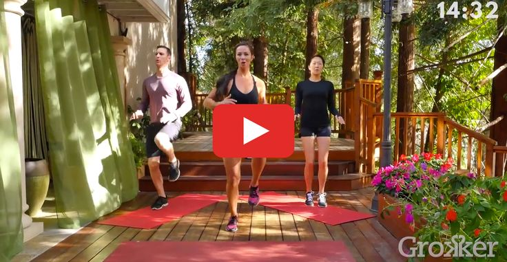 All you need is a mat to fit in this calorie-torching full-body workout. #fitness #bodyweight #home #workout http://greatist.com/move/grokker-15-minute-hiit-home-workout