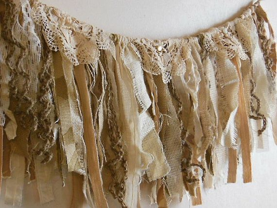 Burlap fabric garland, romantic fringe banner, rustic  fringe bunting,  fringe  rag hanging, romantic prop, wedding garland,  window decor