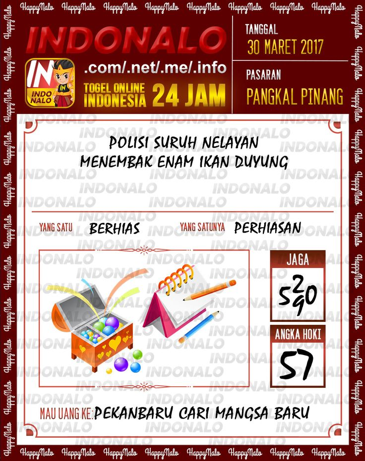 Angka JP 2D Togel Wap Online Indonalo Pangkal Pinang 30 Maret 2017