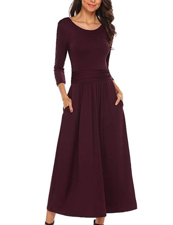 Caeasar Damen Maxikleid Cocktailkleid elastische Hohe Taille 3 4 Ärmel  Patchwork Rundhals lange Plissee Kleid 61f7d82763