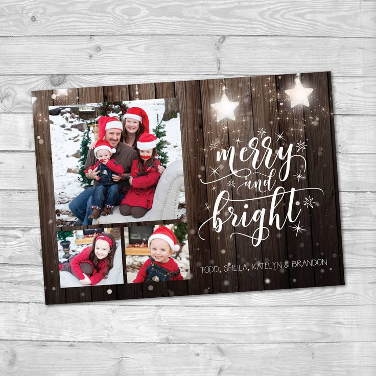 Family photo Christmas card, Christmas card template, Holiday card Photo, Printable Christmas card, Merry and Bright, Family Christmas Card by LMNDesignStudio on Etsy
