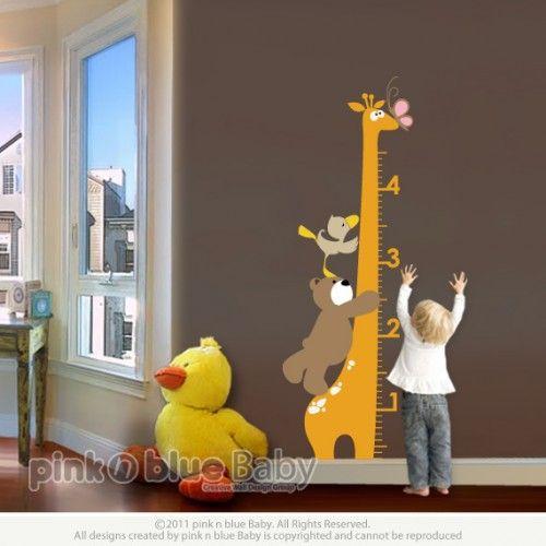 Growth Chart Giraffe - Nursery Kids Removable Wall Vinyl Decal   pinknblueBaby - Children's on ArtFire