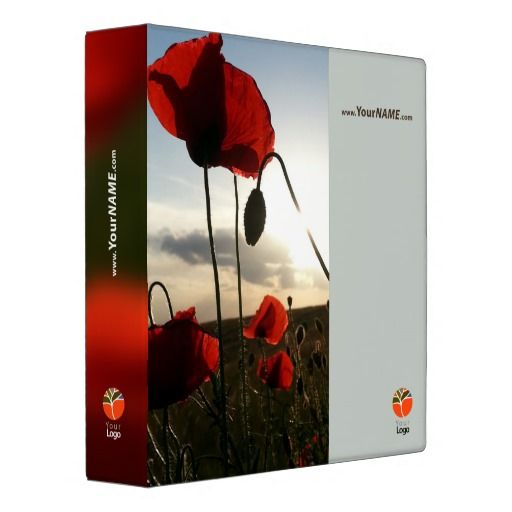 Customizable binder with red wild poppies Fully customizable text and logo on all sides.