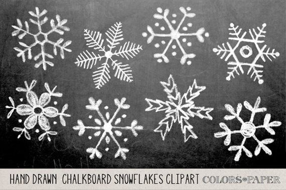 Chalkboard Hand Drawn Snowflakes Clipart, Photoshop Brushes and Stamps. Download. Personal and Limited Commercial Use