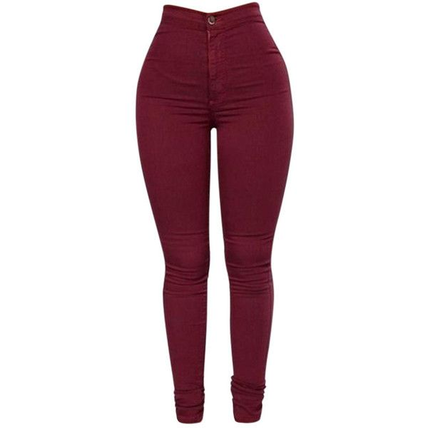 High Waist Elastic Skinny Pure Color Pants ($20) ❤ liked on Polyvore featuring pants, newchic, wine red, high-waisted pants, skinny trousers, red skinny pants, high waisted skinny pants and purple skinny pants
