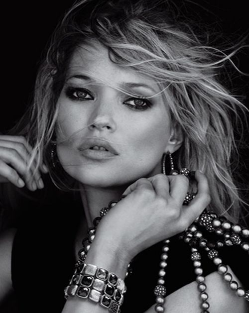 Kate Moss is photographed for jewelry designer David Yurman. The model appeared in several ads before being replaced entirely by supermodel Gisele Bundchen.Photo Credit: David Yurman via StyleList