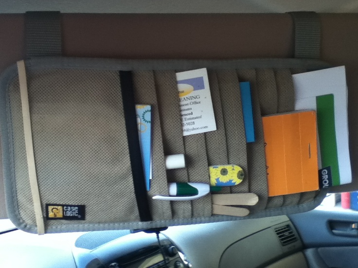 Use old visor CD organizer as a mobile office - store pens, paper, coupons, etc. From www.TheProfessionalOrganizer.com. $00, there are lots of them at garage sales and thrift stores.