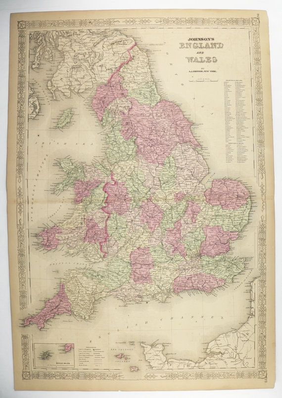 1800s Vintage Map England Wales, United Kingdom Map UK 1867 Johnson Map, Great Britain Map, Unique Office Gift for Him, Gift for Her available from OldMapsandPrints on Etsy