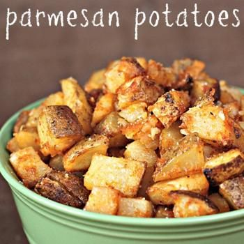Roasted Parmesan Potatoes Recipe; Super crunchy, and an interesting take on an old favorite.