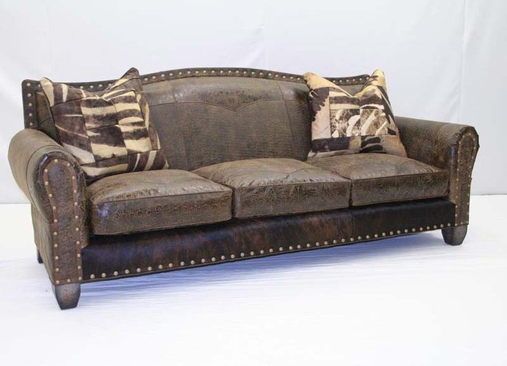 Superior Rustic Leather Combo Sofa Western Sofas And Loveseats   Exclusively  Designed By Old Hickory Tannery.