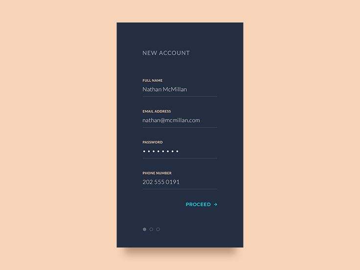 Exploring a minimalistic multistep sign-up form for an iOS app. Hit