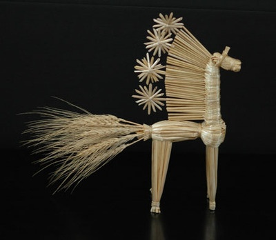 Woven straw horse