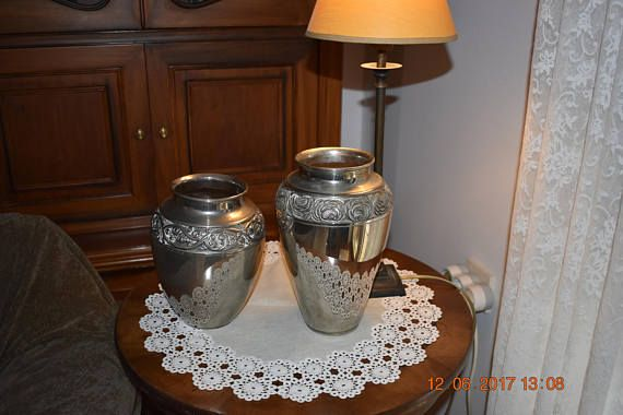 two very old silver plated decorative vases  1930's