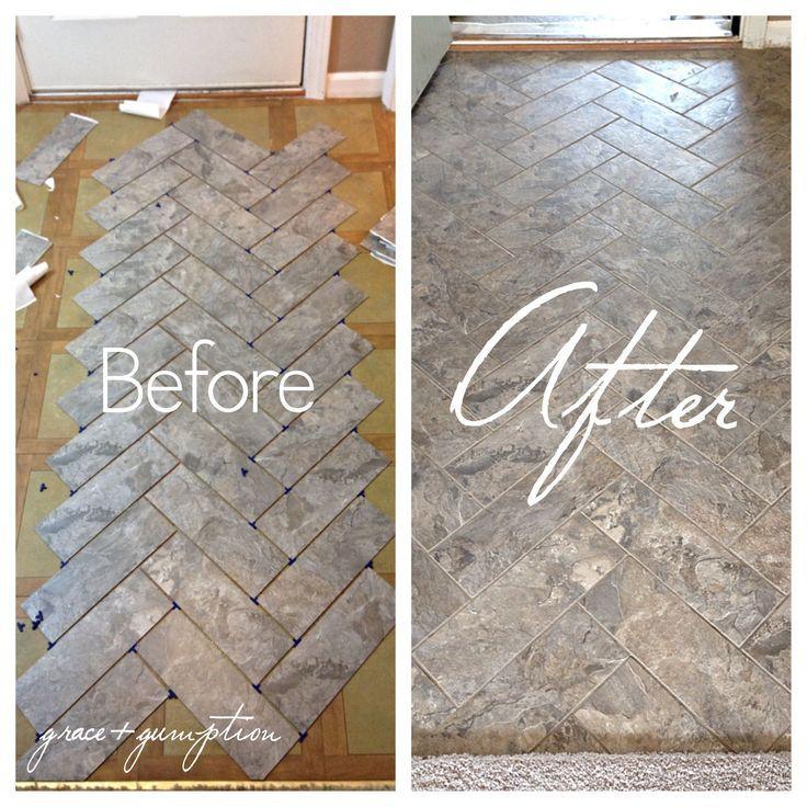 diy herringbone peel n stick tile floor