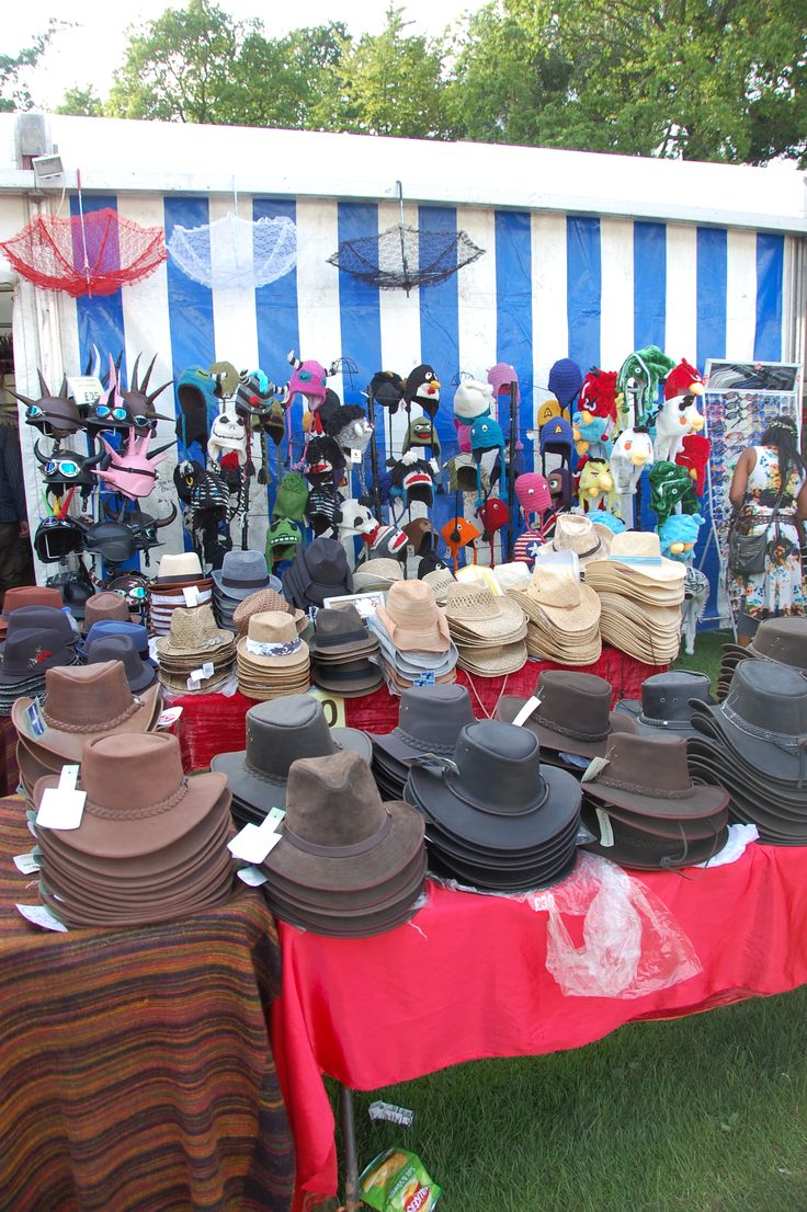 Hat stall at Cambridge Folk festival 2012