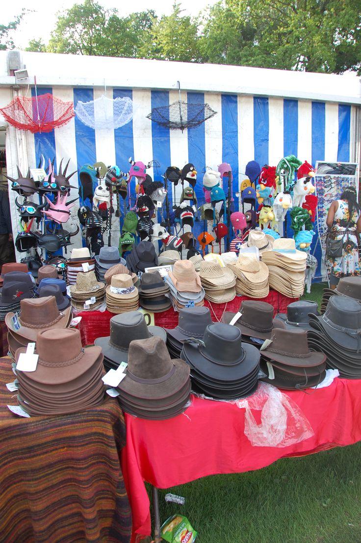 Hat stall at Cambridge Folk festival 2012