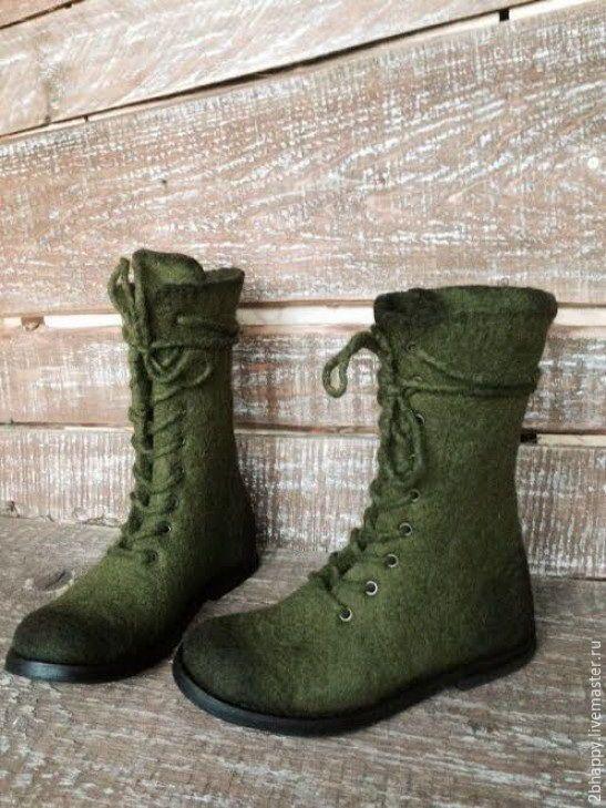 Купить Валяные высокие ботинки ХВОИ цвет - хаки, хвойный, ботинки женские, Валяные ботинки