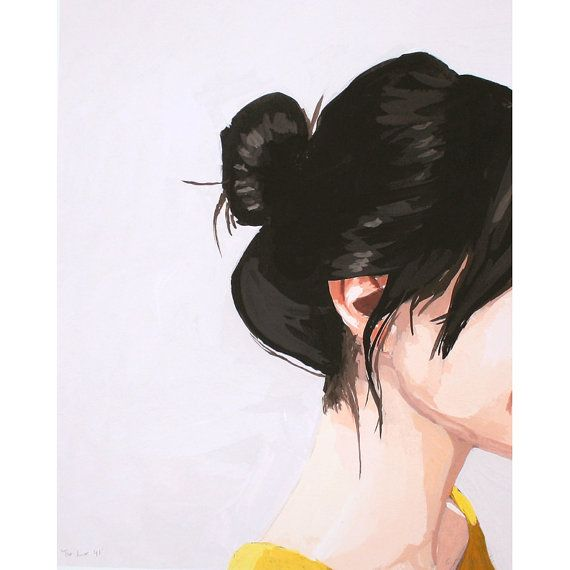This is a 8x10 open edition giclee print of my original gouache painting of a woman with a top knot.    Image is printed on high quality 50 lb