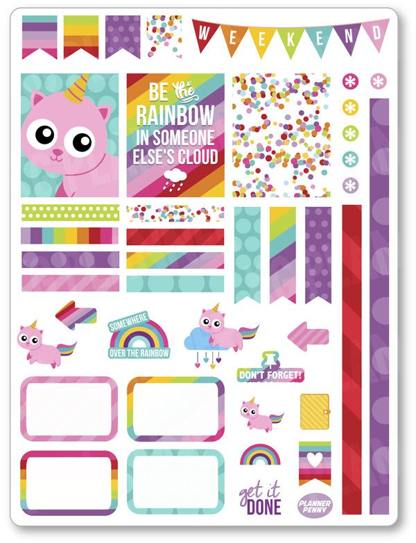 Unicorn Kitty Dec... added to the shop! View/purchase at http://www.plannerpenny.com/products/unicorn-kitty-decorating-kit-weekly-spread-planner-stickers?utm_campaign=social_autopilot&utm_source=pin&utm_medium=pin
