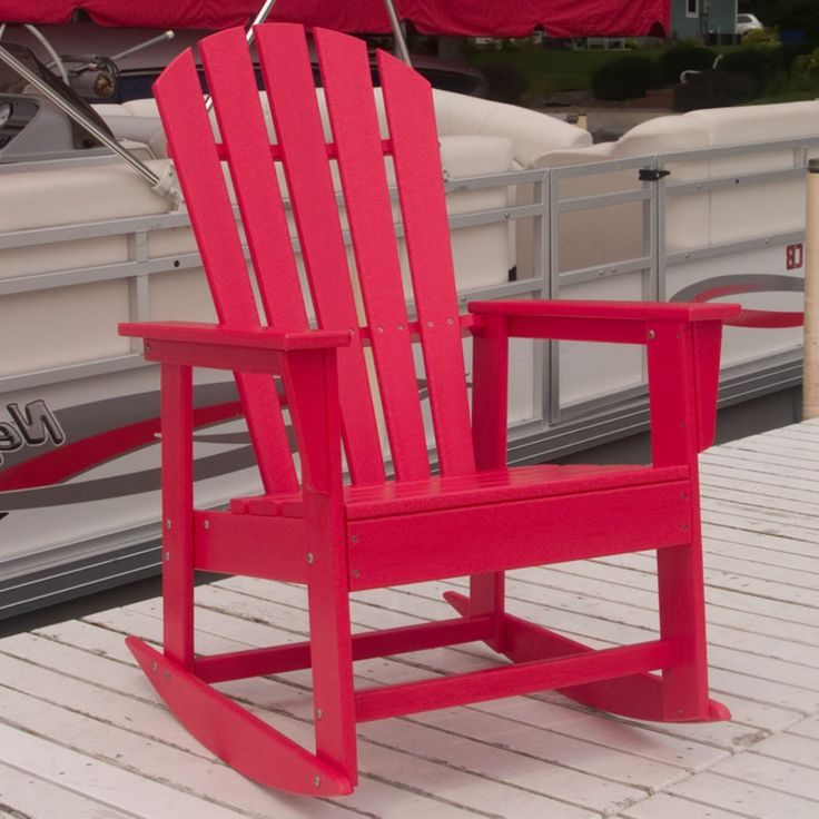 Outdoor POLYWOOD® South Beach Recycled Plastic Adirondack Rocking Chair - SBR16BL