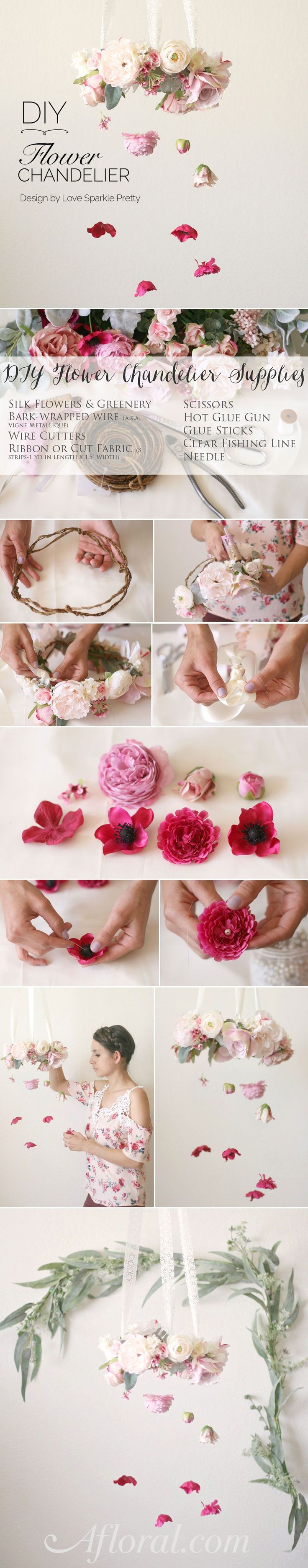 Make this lovely silk flower chandelier for your wedding. Cute for the sweetheart table or make a few for a backdrop at the ceremony! #diywedding  Design by Love Sparkle Pretty