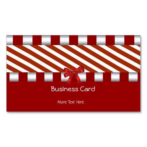 Business Card Elegant Art Deco Red White Stripe