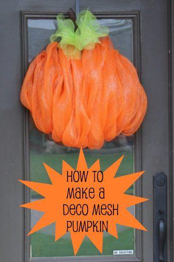 """Miss Kopy Kat: How To Make A Deco Mesh Pumpkin. Pumpkin """"Wreath:"""