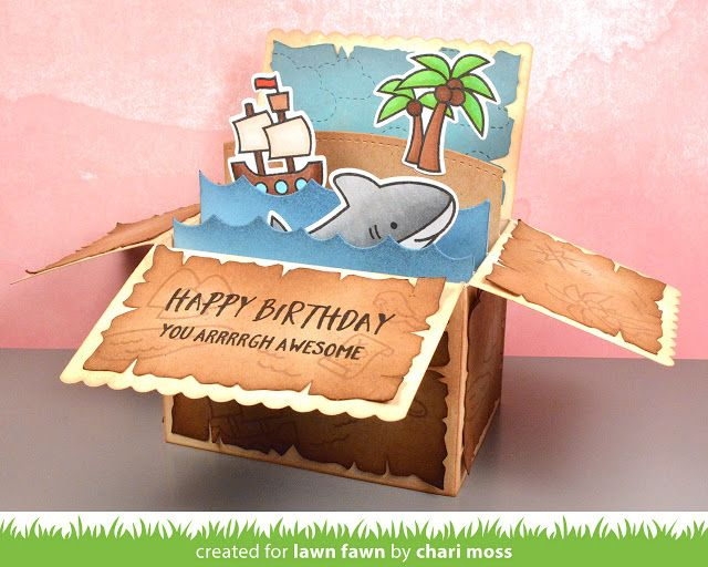 Chari joins us today to share a cute pirate themed Scalloped Box Card Pop-up. She made a video tutorial that you can watch here or at our YouTube channel.Thanks so much for watching! I love how Chari