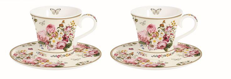 """Espressotassen Set (2er) mit Untertasse """"Blooming Opulence"""" :)"""