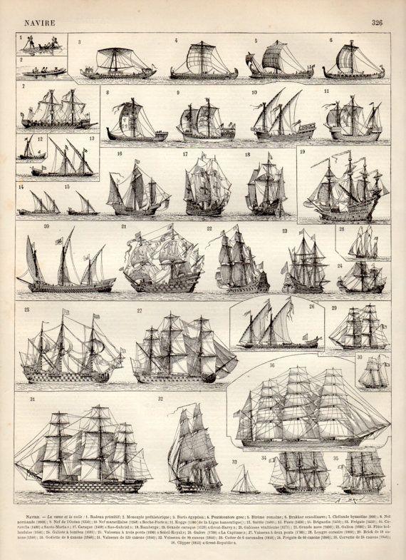 Vieux navires Print Antique 1897 Vintage par Craft…