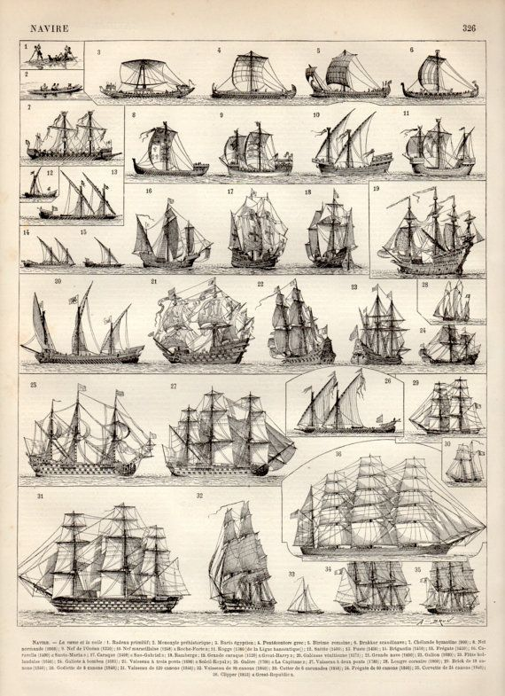Old Ships, Antique Print, 1897 Vintage Lithograph,…