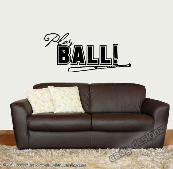Baseball Vinyl Wall Decal Play Ball Sports Boys By CadyDesignz 1800