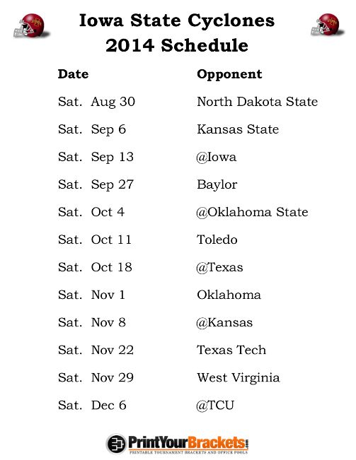 Printable Iowa State Cyclones Football Schedule 2014