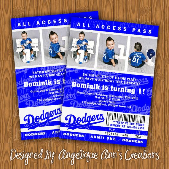 Dodgers Ticket Style Birthday Party Invitations by jayarmada, $13.99