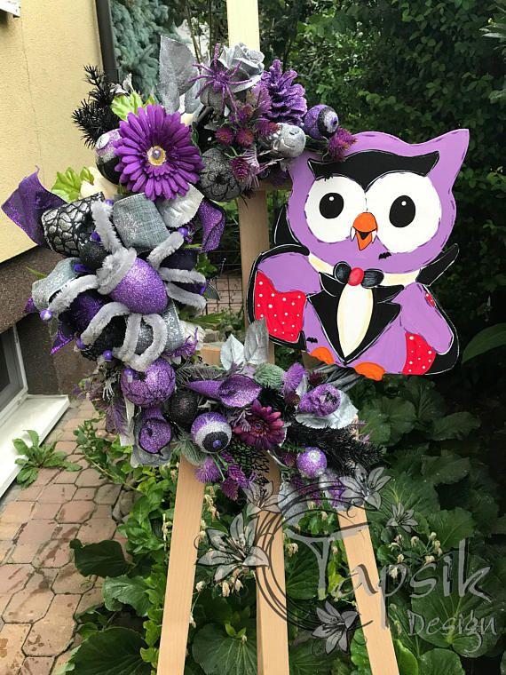 Halloween Owl Wreath Wicker Wreath Halloween Home Decor