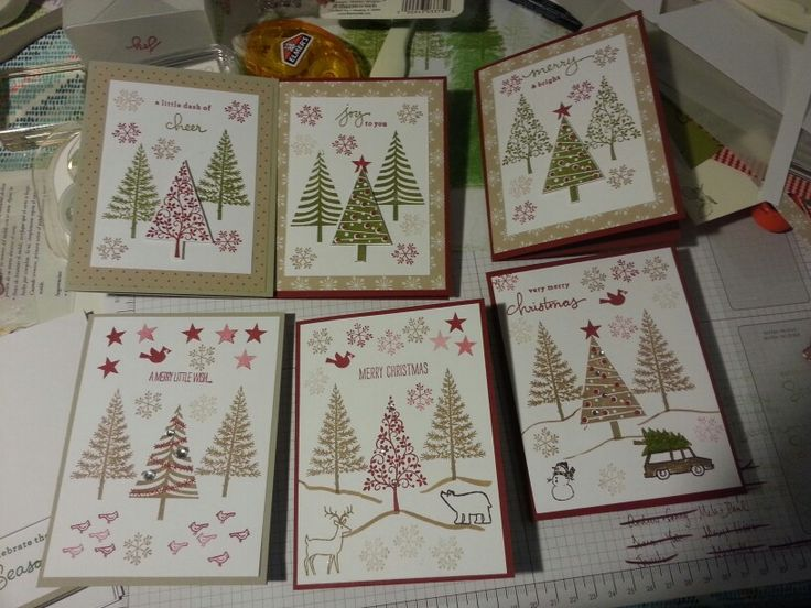 Pop up trees. Endless wishes. Festival of trees. White Christmas. Cherry cobbler. Soft suede. Old olive. Stampin up.