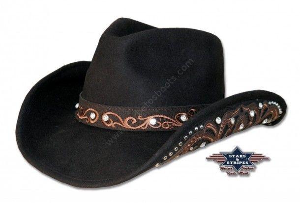 50-KARA | Espectacular sombrero cowboy de fieltro blando marrón con cristales incrustados y ala decorada | Brown crushable felt cowboy hat with rhinestones