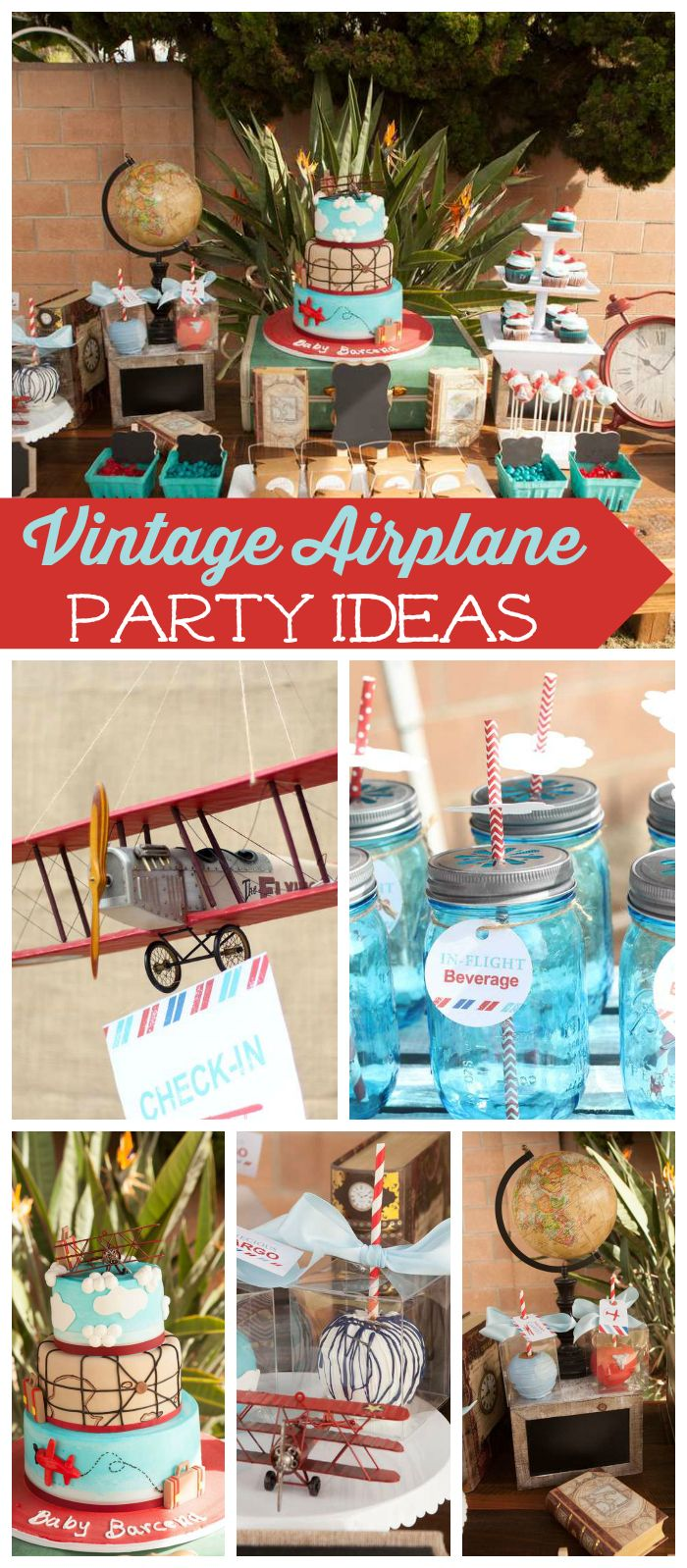 A precious cargo themed vintage airplane baby shower with blue mason jar drinks and an amazing cake! See more party planning ideas at CatchMyParty.com!