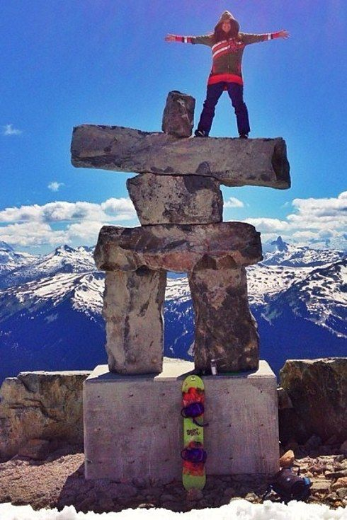 Taking photos with Inukshuks at Whistler. | 17 Things That Only Happen On Road Trips Across Canada
