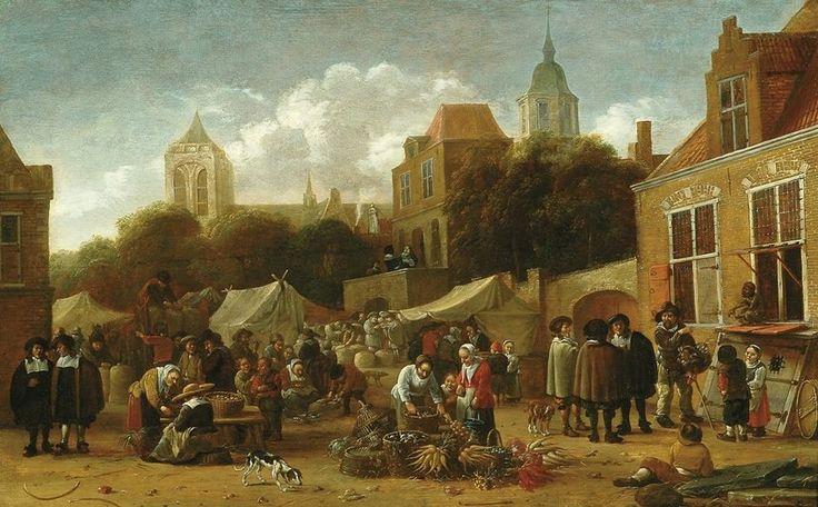 Rombouts, Salomon Gillisz - Овощной рынок, 1665-75, 41 cm x 66 cm, Дерево, масло Музей Франса Халса в Харлеме