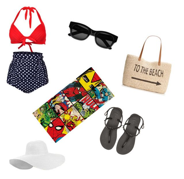 """Beach day ☀️"" by doctor221b on Polyvore featuring Marvel, Havaianas, Sun Buddies and Style & Co."