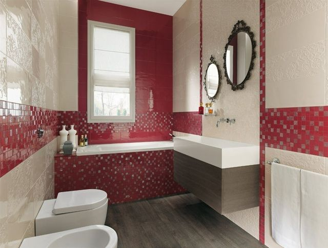 Carrelage salle bain rouge beige clair mosaique carrelage for Carrelage mural original
