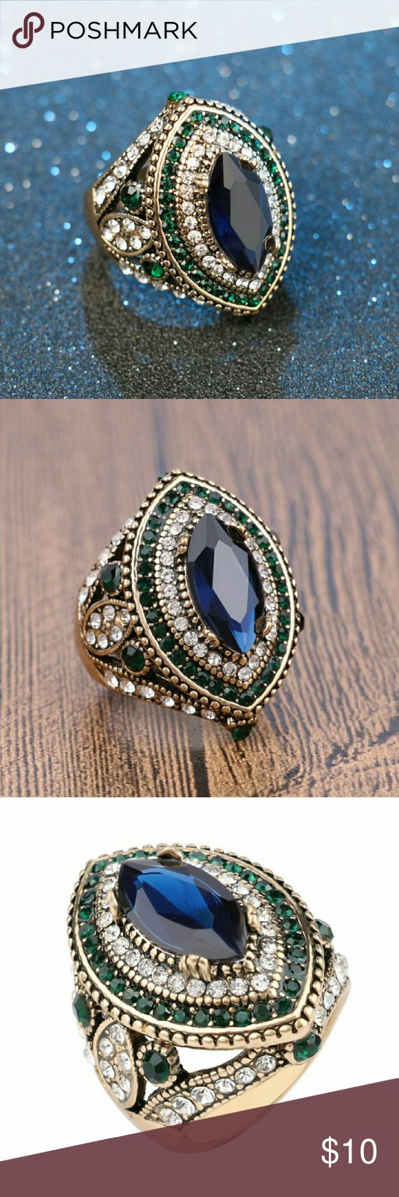 Women's Exotic CZ Sapphire Emerald Ring! Women's Exotic Ancient Turkish Hurrem Style Fashion Ring with Crystal Zirconia Crystals & Sapphire Resins  A beautiful fashion ring that is suitable for daily wear, gifting purposes, or for evenings!  Sizes available: 7, 8, 9, or 10 Please let us know size after placing order, thanks!  IMPORTANT, Pls Note:  If ring size are sold in our real store in NYC, this means it'll not be available on here as well.. We will refund transaction in these cases…