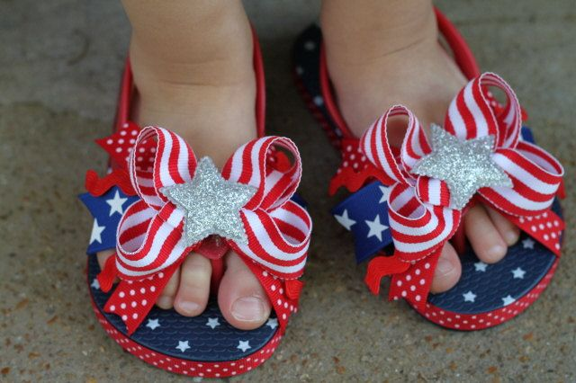 Stars and Stripes Bow Toddler Flip Flops by DarlingLittleBowShop