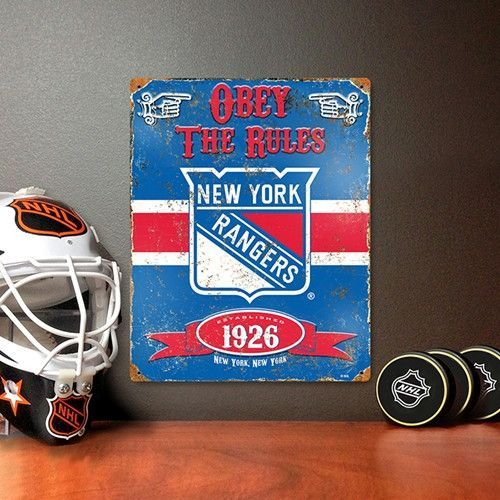 "The New York Rangers Vintage Sign is premium quality, heavy gauge steel and measures 14 ½"" x 11 ½"". This New York Fan sign has a vintage look & is drilled and riveted in each corner for easy placement"