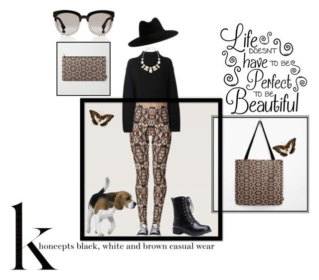 Khoncepts black, white and brown casual wear by khoncepts on Polyvore  #blackandbrownleggings