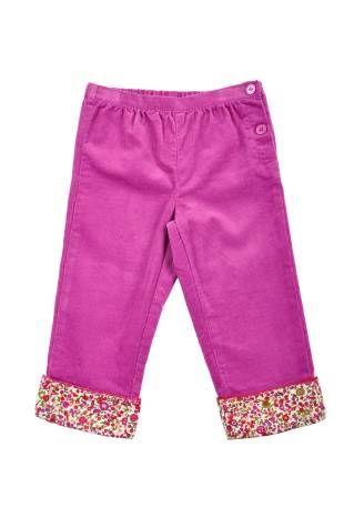 Pantalón para bebe niña, confeccionado en corduroy en color magenta. Cintura elastizada.