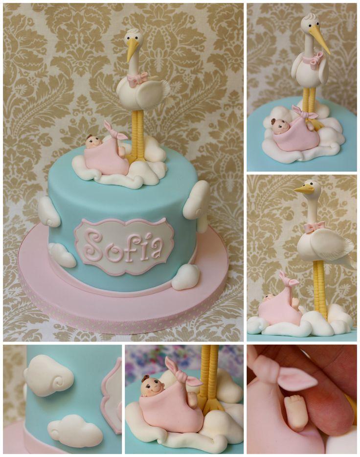 Tarta cigüeña y bebé Baby and stork cake