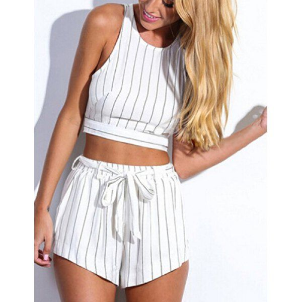 striped two piece // you can restyle the top with black midi pencil