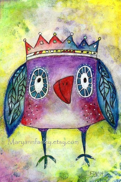 Art Print Whimsical Owl Bird With Crown Storybook by maryannfarley, $12.00